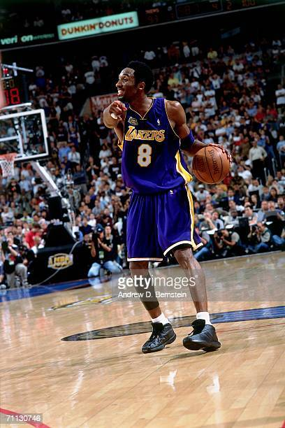 Kobe Bryant of the Los Angeles Lakers runs the offense against the Philadelphia76ers during game five of the 2001 NBA Finals played June 15 2001 at...