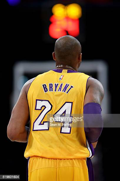 Kobe Bryant of the Los Angeles Lakers runs upcourt during a game between the Los Angeles Lakers and Memphis Grizzlies at Staples Center on March 22...