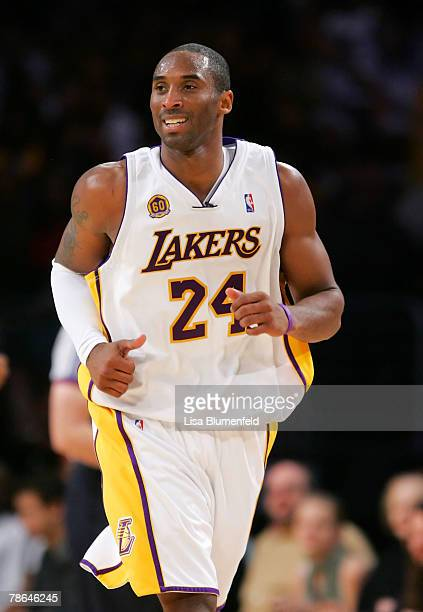 Kobe Bryant of the Los Angeles Lakers runs upcourt during the game against the Phoenix Suns at Staples Center on December 25 2007 in Los Angeles...