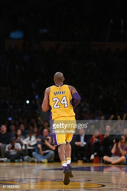 Kobe Bryant of the Los Angeles Lakers runs upcourt during the second half of a game against the San Antonio Spurs at Staples Center on February 19...