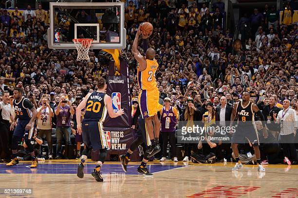 Kobe Bryant of the Los Angeles Lakers scores the final field goal of his career during the game against the Utah Jazz at STAPLES Center on April 13...