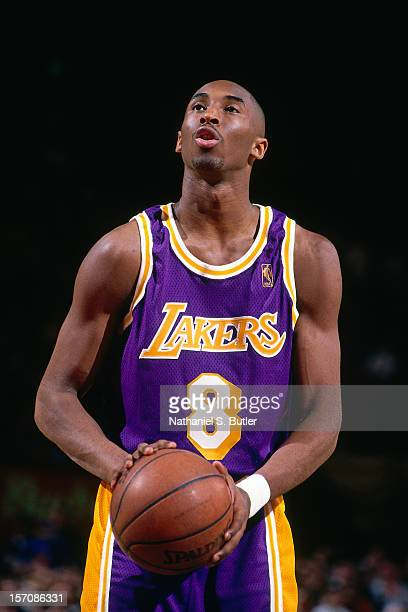 Kobe Bryant of the Los Angeles Lakers scores the first point of his career by shooting a foul shot against the New York Knicks on November 5 1996 at...