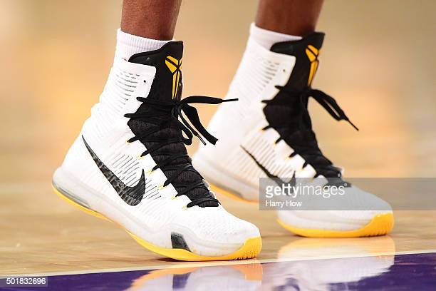 Kobe Bryant of the Los Angeles Lakers shoes as he shoots a free throw during a 10797 Houston Rockets win at Staples Center on December 17 2015 in Los...