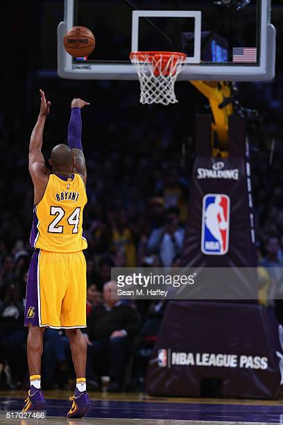 Kobe Bryant of the Los Angeles Lakers shoots a foul shot during the second half of a game against the Memphis Grizzlies at Staples Center on March 22...