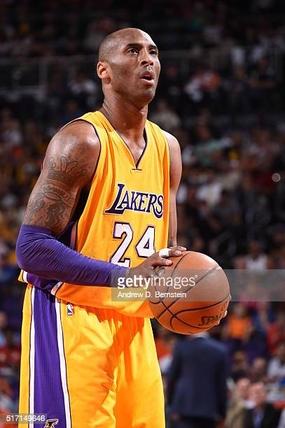 Kobe Bryant of the Los Angeles Lakers shoots a free throw against the Phoenix Suns on March 23 2016 at Talking Stick Resort Arena in Phoenix Arizona...