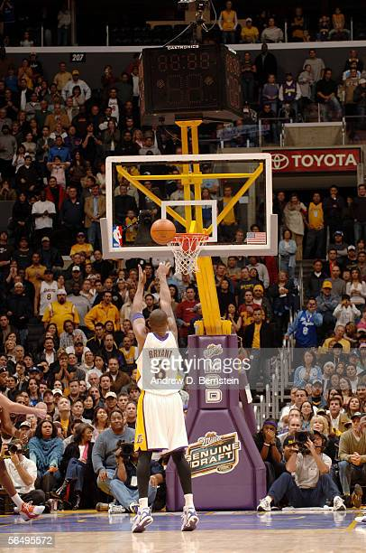 Kobe Bryant of the Los Angeles Lakers shoots a free throw against the Charlotte Bobcats during the game on December 4 2005 at Staples Center in Los...