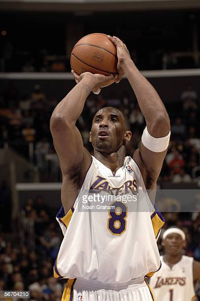 Kobe Bryant of the Los Angeles Lakers shoots a free throw against the Toronto Raptors on January 22, 2006 at Staples Center in Los Angeles,...