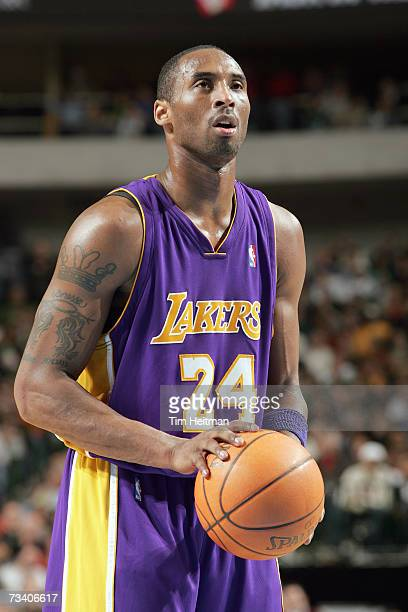 Kobe Bryant of the Los Angeles Lakers shoots a free throw against the Dallas Mavericks on January 18 2007 at the American Airlines Center in Dallas...