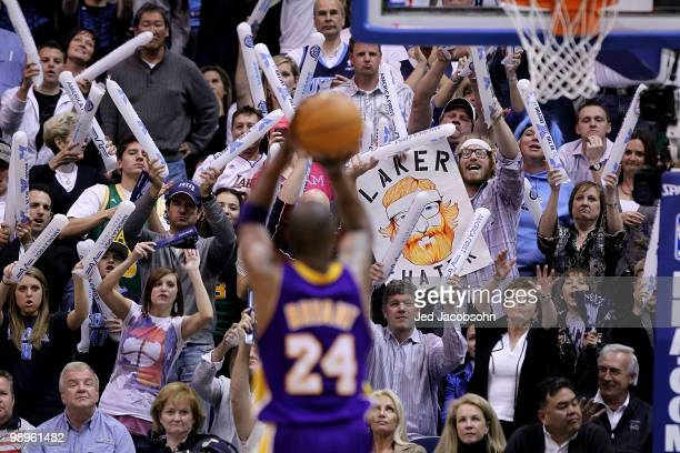 Kobe Bryant of the Los Angeles Lakers shoots a free throw against the Utah Jazz during Game Four of the Western Conference Semifinals of the 2010 NBA...