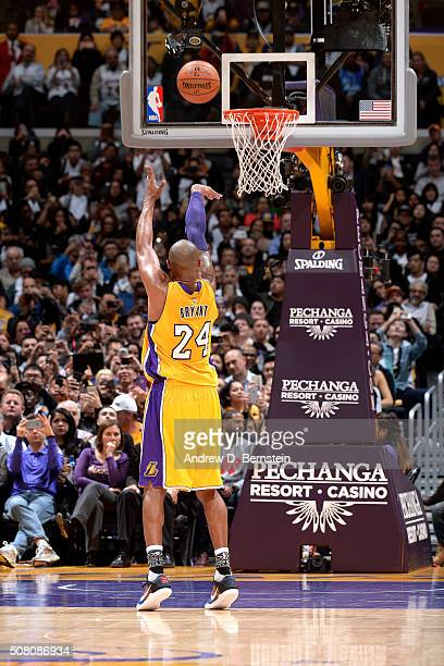Kobe Bryant of the Los Angeles Lakers shoots a free throw during the game against the Minnesota Timberwolves on February 2 2016 at STAPLES Center in...