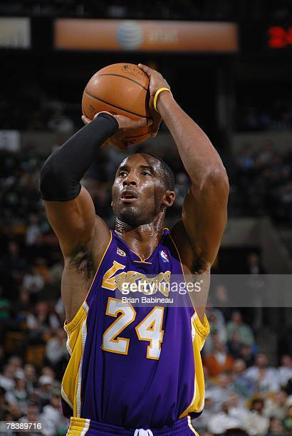 Kobe Bryant of the Los Angeles Lakers shoots a free throw during the game against the Boston Celtics on November 23, 2007 at the TD Banknorth Garden...