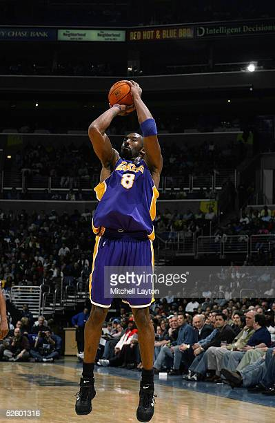 Kobe Bryant of the Los Angeles Lakers shoots a jump shot against the Washington Wizards during the game on March 14 2005 at the MCI Center in...