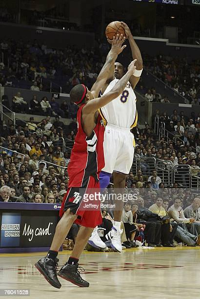 Kobe Bryant of the Los Angeles Lakers shoots a jump shot against the Toronto Raptors during his 81 point explosion on January 22 2006 at Staples...