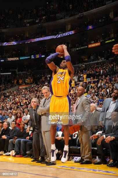 Kobe Bryant of the Los Angeles Lakers shoots a last second threepointer to beat the Sacramento Kings 109108 at Staples Center on January 1 2010 in...