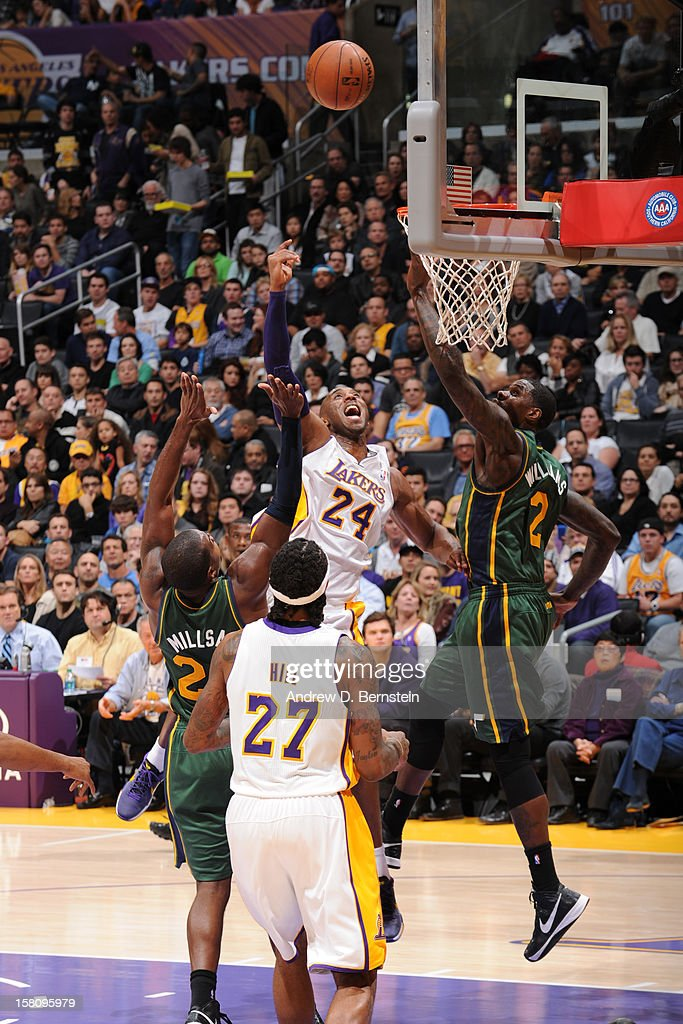 Kobe Bryant #24 of the Los Angeles Lakers shoots against the Utah Jazz at Staples Center on December 9, 2012 in Los Angeles, California.
