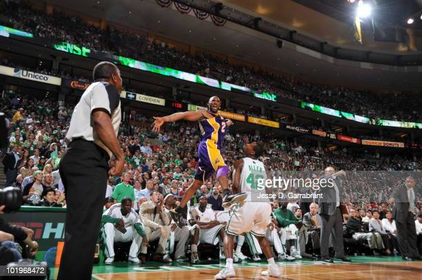 Kobe Bryant of the Los Angeles Lakers shoots against Tony Allen of the Boston Celtics in Game Four of the 2010 NBA Finals on June 10, 2010 at TD...