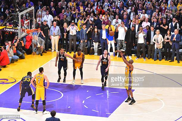 Kobe Bryant of the Los Angeles Lakers shoots his 60th and final career point against the Utah Jazz at STAPLES Center on April 13 2016 in Los Angeles...