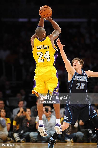Kobe Bryant of the Los Angeles Lakers shoots over Kyle Korver of the Utah Jazz in Game Two of the Western Conference Semifinals during the 2010 NBA...