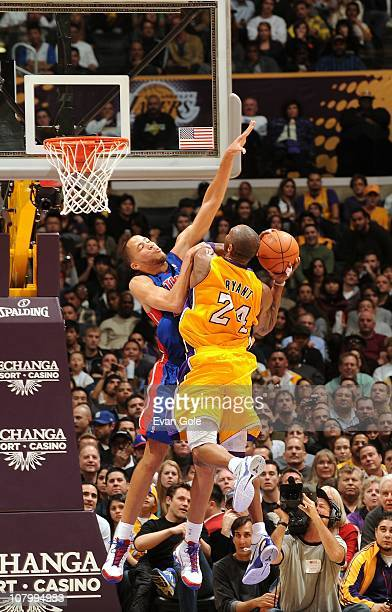 Kobe Bryant of the Los Angeles Lakers shoots the ball against Tayshaun Prince of the Detroit Pistons during a game at Staples Center on January 4...