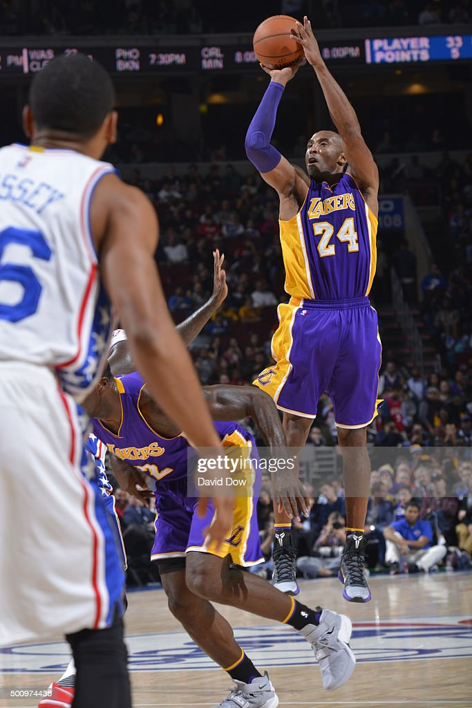 Kobe Bryant #24 of the Los Angeles Lakers shoots the ball against the Philadelphia 76ers at the Wells Fargo Center on December 1, 2015 in Philadelphia, Pennsylvania.