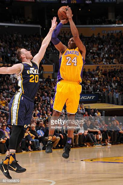 Kobe Bryant of the Los Angeles Lakers shoots the ball against the Utah Jazz on April 13 2016 at Staples Center in Los Angeles California NOTE TO USER...