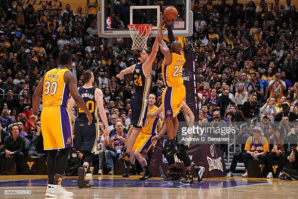 Kobe Bryant of the Los Angeles Lakers shoots the ball against the Utah Jazz at STAPLES Center on April 13, 2016 in Los Angeles, California. NOTE TO...