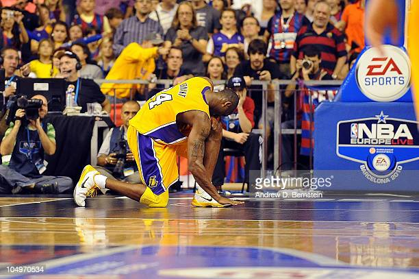 Kobe Bryant of the Los Angeles Lakers shows dejection during the game against Regal FC Barcelona at Palau Sant Jordi stadium on October 7 2010 in...
