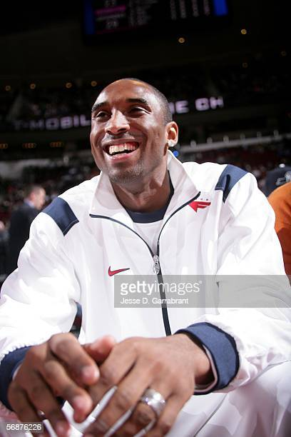 Kobe Bryant of the Los Angeles Lakers sits courtside during the TMobile Rookie Challenge at the 2006 NBA AllStar Weekend on February 17 2006 at the...