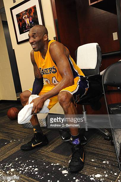 Kobe Bryant of the Los Angeles Lakers sits in the locker room after the game against the Utah Jazz on April 13 2016 at Staples Center in Los Angeles...