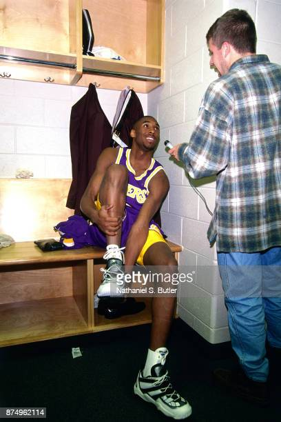 Kobe Bryant of the Los Angeles Lakers sits in the locker room during a game played on November 26 1996 at the First Union Arena in Philadelphia...
