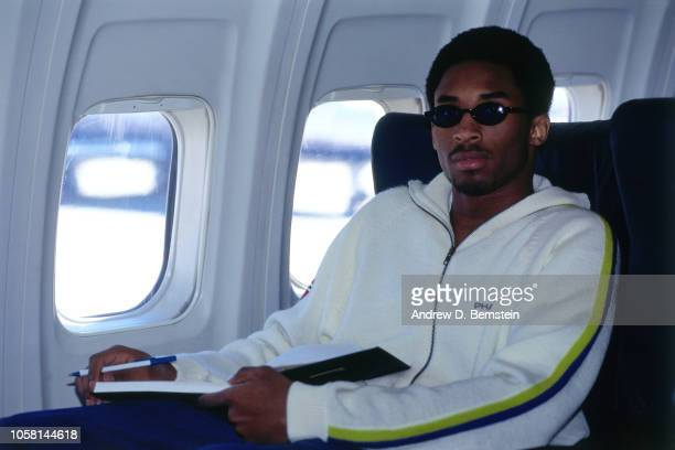 Kobe Bryant of the Los Angeles Lakers sits on the plane circa 1998 at the Great Western Forum in Inglewood California NOTE TO USER User expressly...
