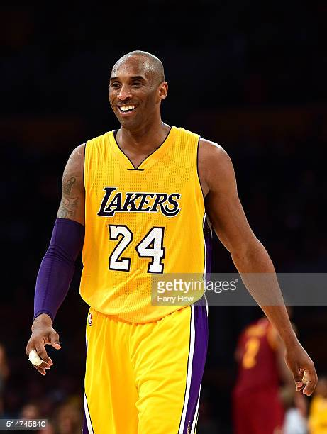 Kobe Bryant of the Los Angeles Lakers smiles during a 120108 Cleveland Cavaliers win at Staples Center on March 10 2016 in Los Angeles California...