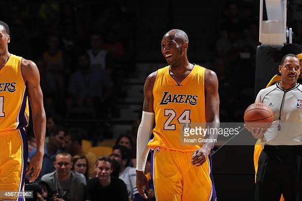 Kobe Bryant of the Los Angeles Lakers smiles during a game against the Denver Nuggets as the Los Angeles Lakers take on the Denver Nuggets at the...