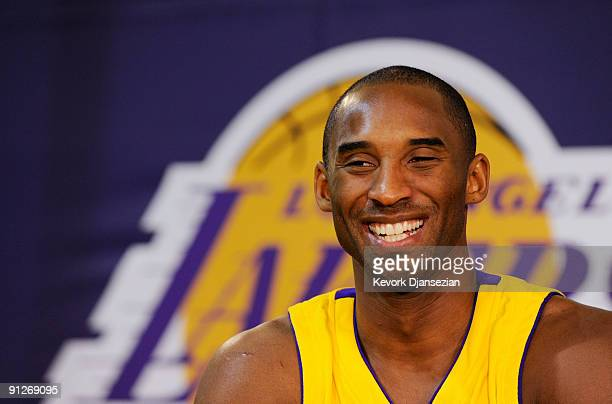 Kobe Bryant of the Los Angeles Lakers smiles during Lakers media day at the Lakers training facility on September 29 2009 in El Segundo California