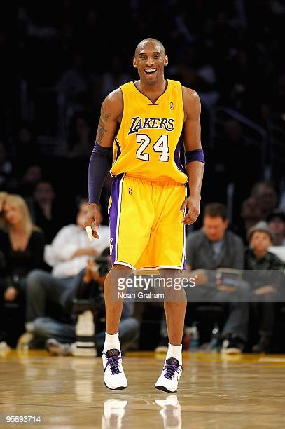 Kobe Bryant of the Los Angeles Lakers smiles during the game against the Golden State Warriors on December 29 2009 at Staples Center in Los Angeles...
