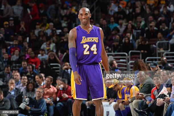 Kobe Bryant of the Los Angeles Lakers smiles of the crowd against the Philadelphia 76ers at Wells Fargo Center on December 1 2015 in Philadelphia...