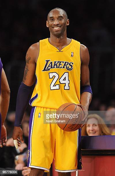 Kobe Bryant of the Los Angeles Lakers smiles on the court during the game against the Sacramento Kings on January 1 2010 at Staples Center in Los...