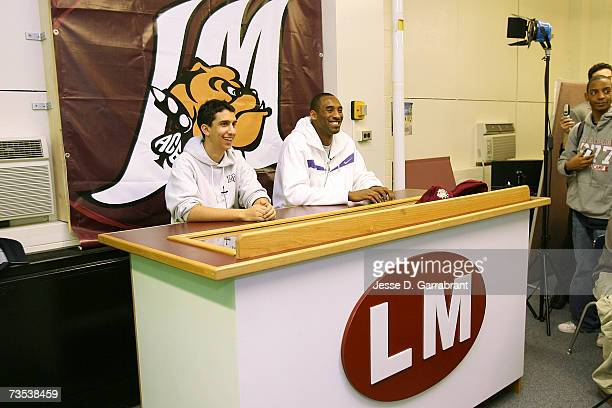 Kobe Bryant of the Los Angeles Lakers smiles while visiting his alma mater Lower Merion High School March 9 2007 in Philadelphia Pennsylvania NOTE TO...