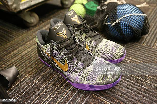 Kobe Bryant of the Los Angeles Lakers sneakers in the locker room before the game against the Minnesota Timberwolves on December 14 2014 at Target...