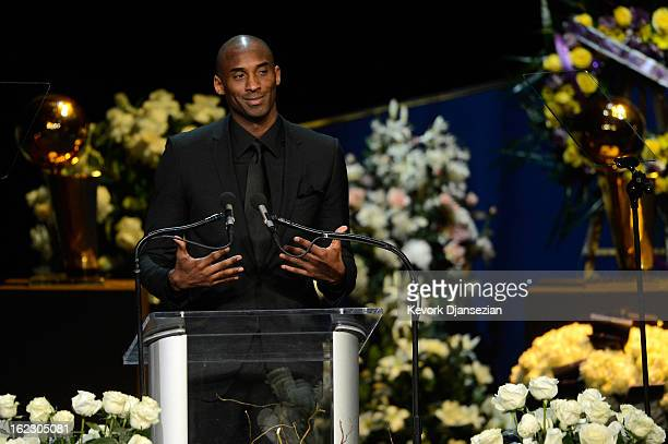 Kobe Bryant of the Los Angeles Lakers speaks during a memorial service for Los Angeles Lakers owner Dr. Jerry Buss at the Nokia Theatre L.A. Live on...