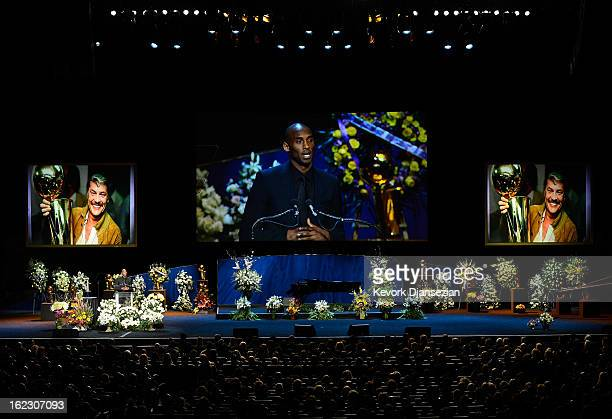 Kobe Bryant of the Los Angeles Lakers speaks during a memorial service for Los Angeles Lakers owner Dr Jerry Buss at the Nokia Theatre LA Live on...