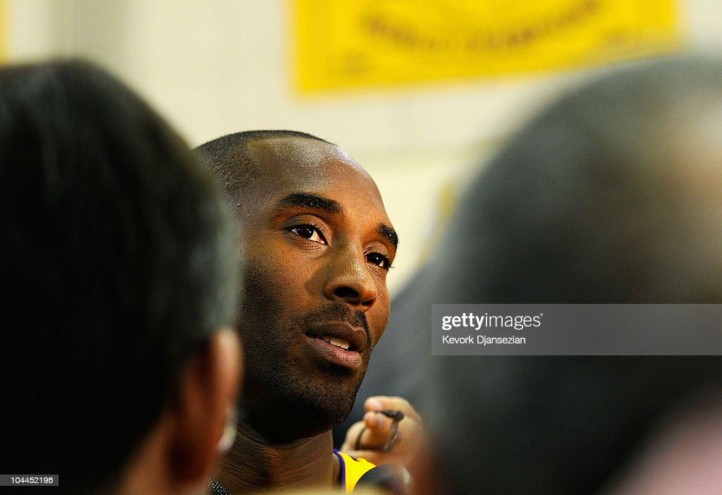 Kobe Bryant #24 of the Los Angeles Lakers speaks to reporters during a news conference during Media Day at the Toyota Center on September 25, 2010 in El Segundo, California.