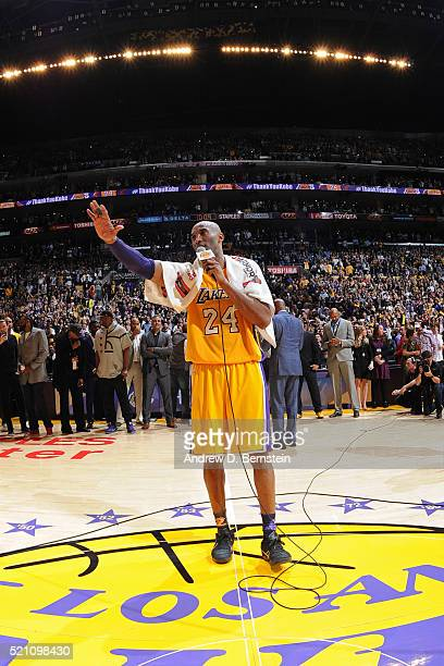 Kobe Bryant of the Los Angeles Lakers speaks to the crowd after the game against the Utah Jazz on April 13, 2016 at Staples Center in Los Angeles,...