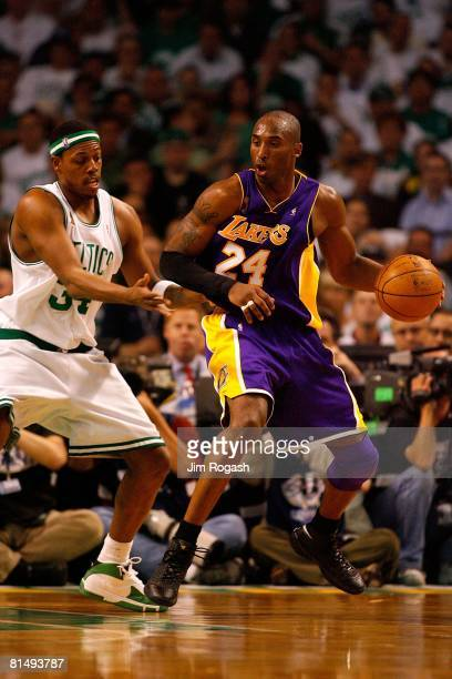 Kobe Bryant of the Los Angeles Lakers spins around Paul Pierce of the Boston Celtics in Game One of the 2008 NBA Finals on June 5, 2008 at TD...