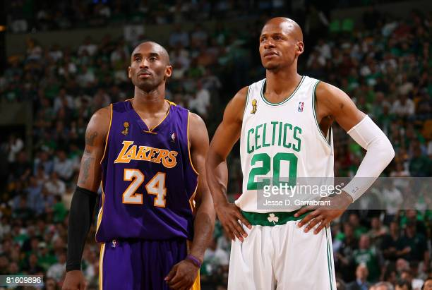 Kobe Bryant of the Los Angeles Lakers stands alongside Ray Allen of the Boston Celtics in Game Six of the 2008 NBA Finals on June 17 2008 at the TD...