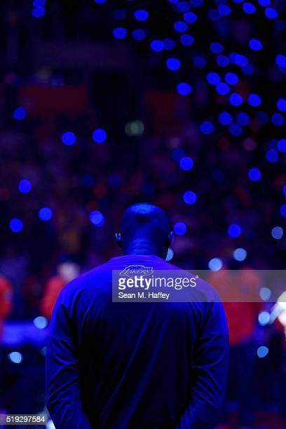 Kobe Bryant of the Los Angeles Lakers stands during pregame introductions prior to an NBA game against the Los Angeles Clippers on April 5 2016 at...