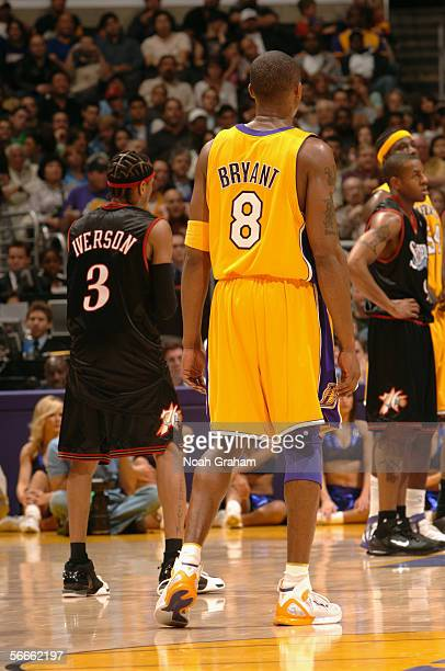 Kobe Bryant of the Los Angeles Lakers stands on the court against the Philadelphia 76ers on January 6 2006 at Staples Center in Los Angeles...