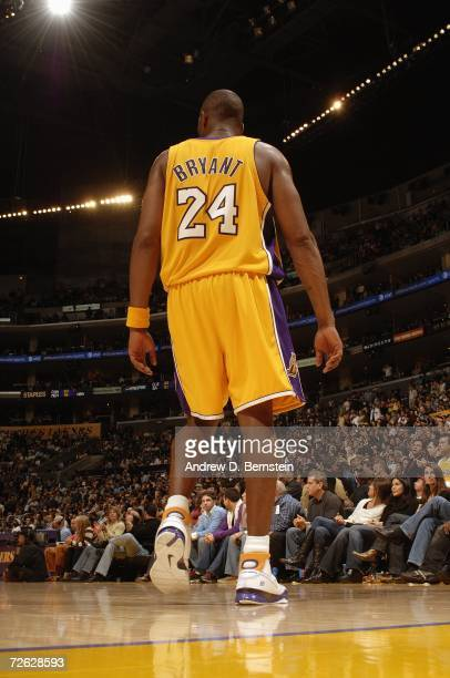 Kobe Bryant of the Los Angeles Lakers stands on the court during the NBA game against the Seattle Supersonics on November 3 2006 at Staples Center in...