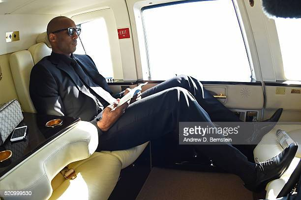 Kobe Bryant of the Los Angeles Lakers takes a helicopter to his last game against the Utah Jazz on April 13 2016 at Staples Center in Los Angeles...