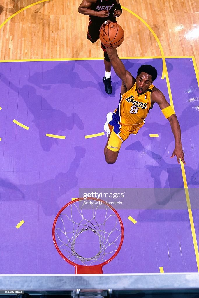 Kobe Bryant #8 of the Los Angeles Lakers takes the ball to the basket against the Portland Trail Blazers in Game One of the Western Conference Finals during the 2000 NBA Playoffs at the Staples Center on May 20, 2000 in Los Angeles, California. The Los Angeles Lakers defeated The Portland Trail Blazers 109-94.